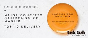 Tuk Tuk Asian Street Food en los PlateSelector Awards